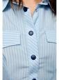 Setre Mavi Bele Oturan Çıtçıt Detaylı Gömlek Mavi